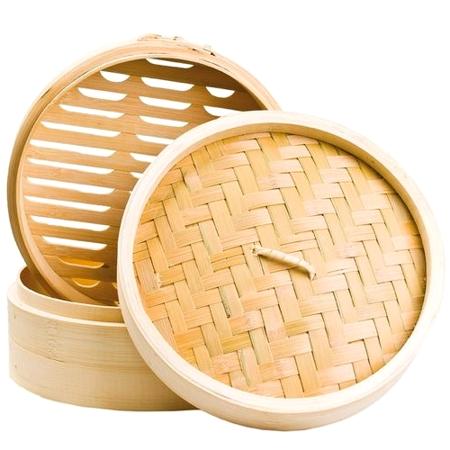 Parowar bambusowy okrągły, dwupiętrowy 25 cm - Shi Ba Ling