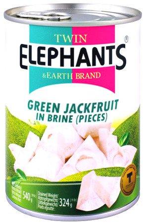 Zielony jackfruit w słonej zalewie 540g - Twin Elephants & Earth Brand